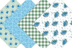 Blue Floral Digital Paper Pack Product Image 2