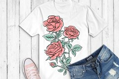 Flowers sublimation, hand drawn roses PNG Product Image 4