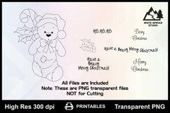 Teddy Bear in Christmas Stocking Printable Line Art Product Image 2