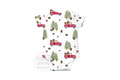 Farm fresh christmas trees digital paper Red old car pattern Product Image 3