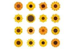 Sunflower icons set, flat style Product Image 1