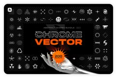 Chrome & vector abstract shapes bundle Product Image 1