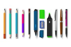 Realistic pen and pencils. 3D school and office supplies, br Product Image 1