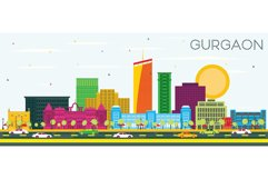 Gurgaon India City Skyline with Color Buildings and Blue Sky Product Image 1
