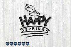 Happy Spring SVG. Spring Sign SVG. Floral Spring Product Image 1