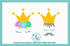 Prince Princess crown face eyelashes mustaches svg dxf png Product Image 2