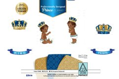 Blue and Gold Baby Prince/King Royal Digital Clipart,Crown Product Image 1