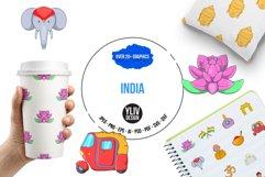 India icons set, cartoon style Product Image 1
