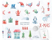 Watercolor Christmas clipart. Christmas cars and trucks Product Image 3
