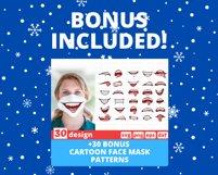 Christmas Face Mask SVG Bundle, funny mouth cricut pattern Product Image 4