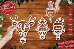 Papercut Christmas Air Balloons, Santa, Tree, Snowman Vector Product Image 1