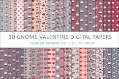 Gnome Valentines digital papers - 30 Seamless Designs Product Image 1