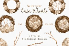 Watercolor Easter Wreaths PNG Clipart Collection. Product Image 1