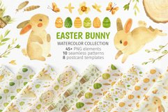 Easter Bunny - watercolor clipart, seamless patterns & cards Product Image 1