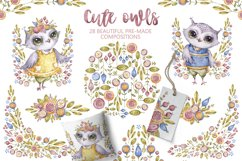 Cute owls clipart. Watercolor collection with floral forest Product Image 4