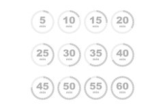 Timer stopwatch in minutes icon set Product Image 1