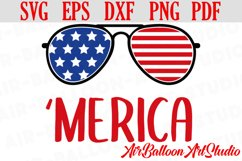 Merica SVG America Svg Merica sunglasses Svg 4th of July Svg Product Image 1