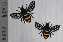Bee SVG, 3D Layered Bee Paper Cut Template, Bumble Bee SVG Product Image 2