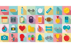 Apps for fitness icons set, flat style Product Image 1