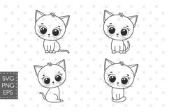 Cute kitten clipart, SVG, PNG, EPS Product Image 2