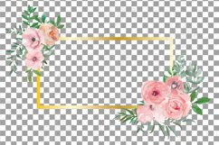 Blush watercolor floral wedding clip art, pink flowers leafs Product Image 5