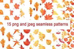 Watercolor Autumn leaves patterns Product Image 5