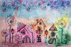 Watercolor painting of fantasy Fairytale town Product Image 1