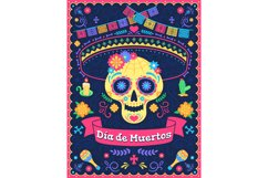 Dia de los muertos poster. Dead day holiday, skull with flow Product Image 1