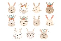 Easter Baby Bunny Faces Clipart, Vector set, SVG, PNG Product Image 2