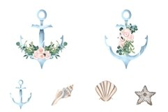 Nautical Floral Watercolor Clipart, Transparent PNG, Summer Product Image 4
