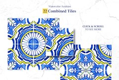 Portuguese Azulejos. Watercolor Patterns and Tiles. Product Image 4