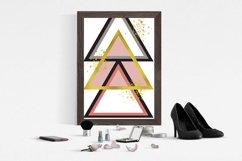 Abstract Geometric Peach Black & Gold Art Set of 2 | Digital Product Image 2