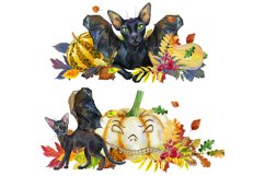 Black cats with wings and pumpkins Product Image 4