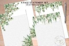 Green Printable Stationery Set, 4 Page Note Paper Product Image 1