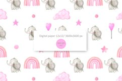 Mom and Baby elephant clipart. Watercolor cute animals Product Image 4