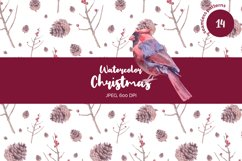 Watercolor Christmas seamless patterns Product Image 1