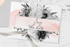 Watercolor Gray Floral Clipart Product Image 3