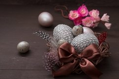 Nest with eggs on Wooden background - Easter still life Product Image 1