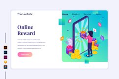 Isometric Online reward Landing page illustration Product Image 1