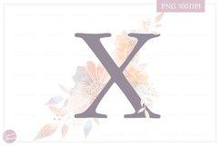 MONOGRAM Letter X Elegant Floral Monogram - Flower initials Product Image 1