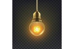 Light Bulb Vector. Retro Loft Light Bulb Symbol. Graphic Product Image 1