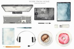Work from home Watercolor clipart. Seamless patterns, frame Product Image 2