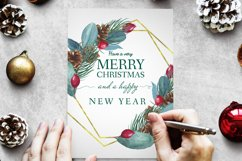 Watercolor Merry Christmas Golden Geometrical Frame Product Image 5