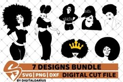 7x Black Woman Bundle SVG, afro lady svg, Africa, Queen svg Product Image 1