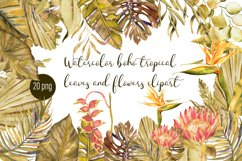 Watercolor tropical boho floral clipart. Flowers and leaves Product Image 1
