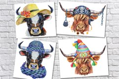 Cute watercolor bulls Product Image 5