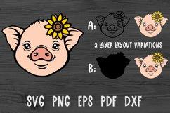Pig face svg Pig svg Baby farm animals svg Sunflower svg Product Image 2