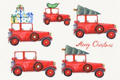 Watercolor Christmas Cars Clipart Product Image 3