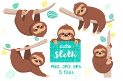 Digital Clip art with cute cartoon sloths Product Image 1
