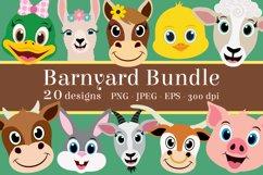 Barnyard Animal Clipart Bundle, Happy Faces, PNG, JPEG, EPS Product Image 1